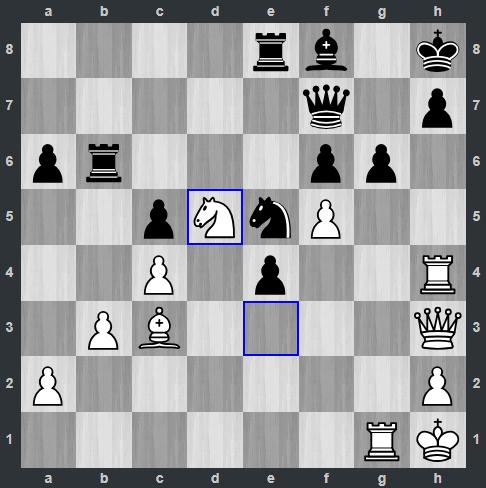 Carlsen – Rapport pozycja po 37. Sd5   Tata Steel Masters 2019
