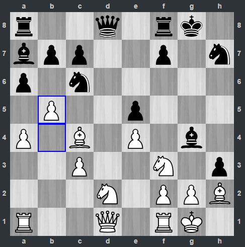 Duda – Kramnik pozycja po 18. b5   Tata Steel Masters 2019