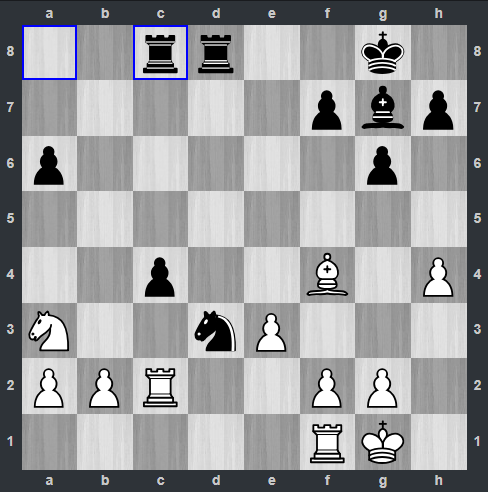 Fedoseev – Carlsen pozycja po 22. ... Wac8 | Tata Steel Masters 2019