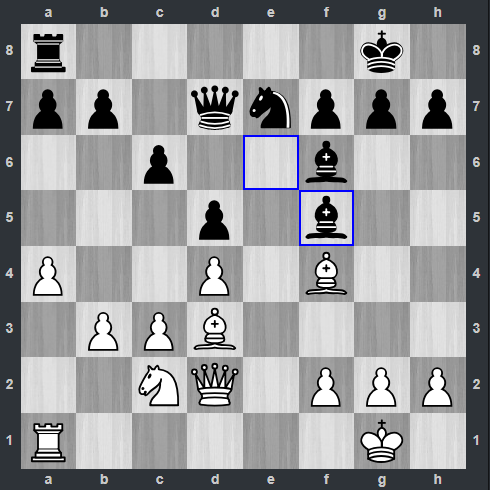 Fedoseev – Kramnik pozycja po 20. ... Gf5   Tata Steel Masters 2019