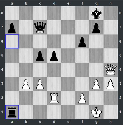 Fedoseev – Kramnik pozycja po 41. ... Wa1 | Tata Steel Masters 2019