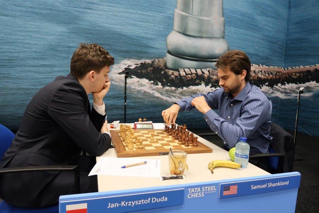 Jan-Krzysztof Duda - Samuel Shankland podczas 4 partii Tata Steel Masters 2019