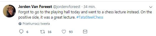 Jorden Van Foreest na Twitterze podumowuje partię z Carlsenem