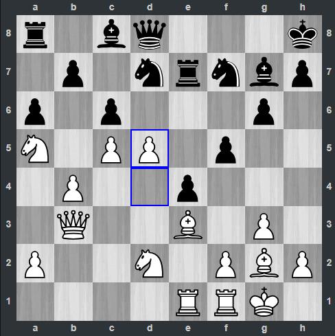 Kramnik - Shankland pozycja po 19. d5 | Tata Steel Masters 2019