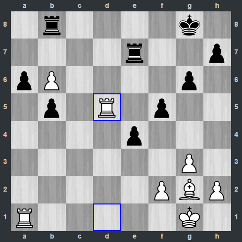 Kramnik - Shankland pozycja po 40. Wd5   Tata Steel Masters 2019