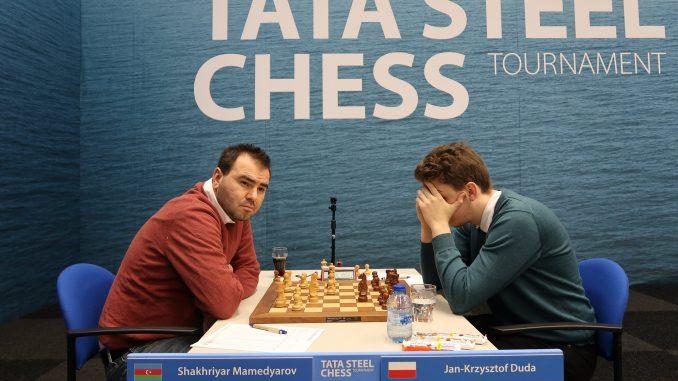 Mamedyarov i Duda grają podczas Tata Steel Masters 2019 w Wijk aan Zee