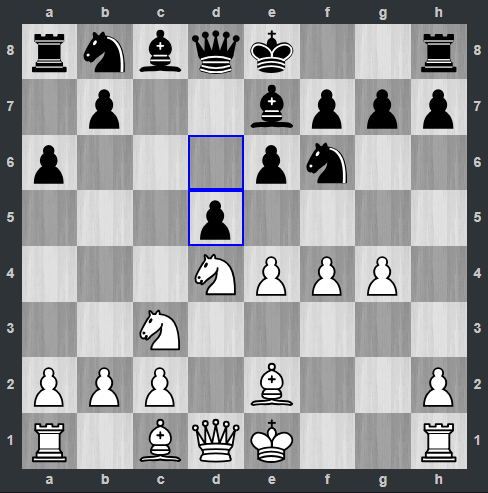 Mamedyarov – Fedoseev pozycja po 8. ... d5 | Tata Steel Masters 2019