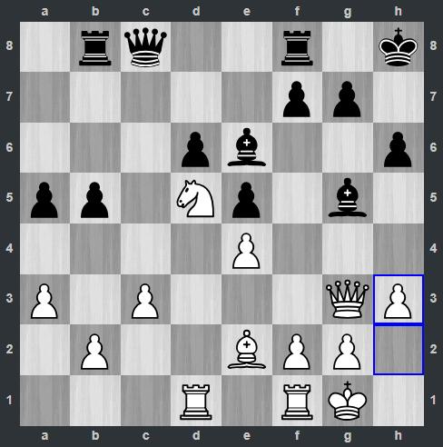Radjabov – Carlsen pozycja po 21. h3 | Tata Steel Masters 2019