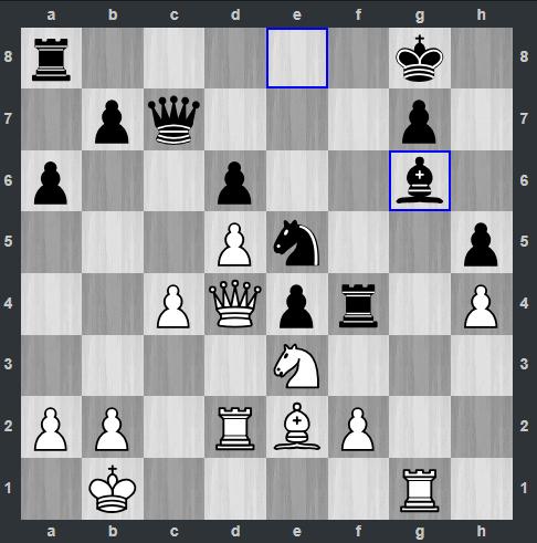 Van Foreest – Carlsen pozycja po 27. Gg6   Tata Steel Masters 2019