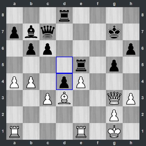 Van Foreest – Mamedyarov pozycja po 26. ... d4   Tata Steel Masters 2019