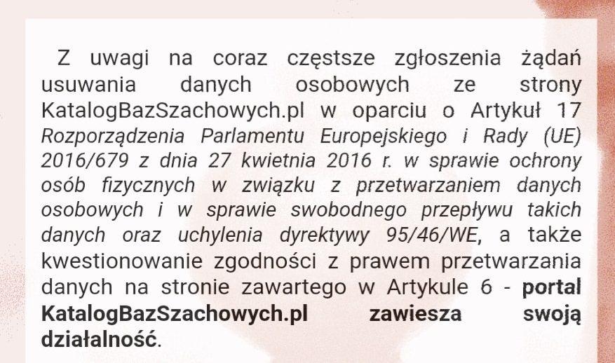 Katalog baz szachowych oficjalne oświadczenie o zawieszeniu