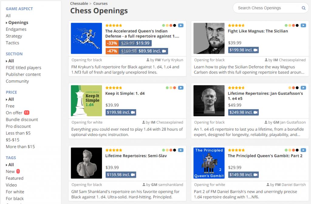Debiuty szachowe - chessable